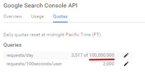 Search Console API requests