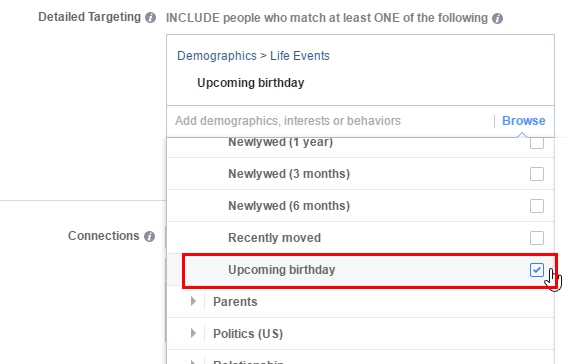 Target users with an upcoming birthdays
