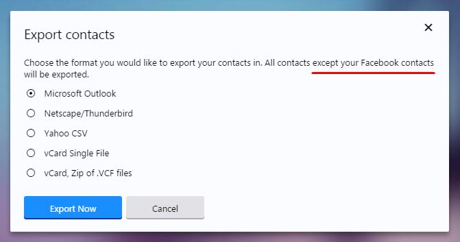 Ще се наложи да добавяте адресите от Facebook в CSV ръчно, тъй като Yahoo блокира възможността да направите това автоматично