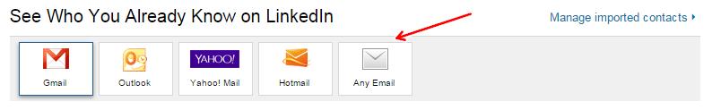 Изберете Any Email и качете контактите