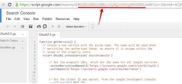 PROJECT KEY е ключът на Вашия скрипт. Можете да го намерите в URL след /macros/d/.