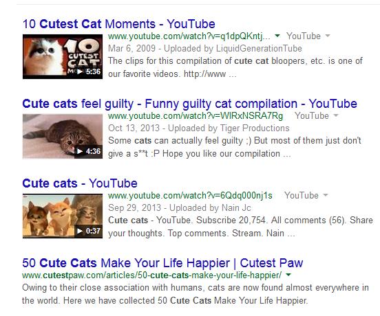 Потребителят, търсещ «cute cats» не иска да чете аналитична статия за семейство котки, на него му трябва видеото