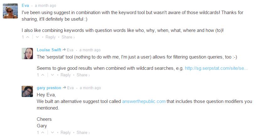 На Moz в коментарите на потребителя дават линк към нашия ресурс други потребители