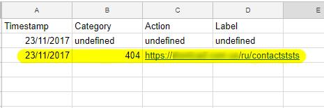 Событие сработало, в таблице Google Таблице появилась дополнительная строчка с данными