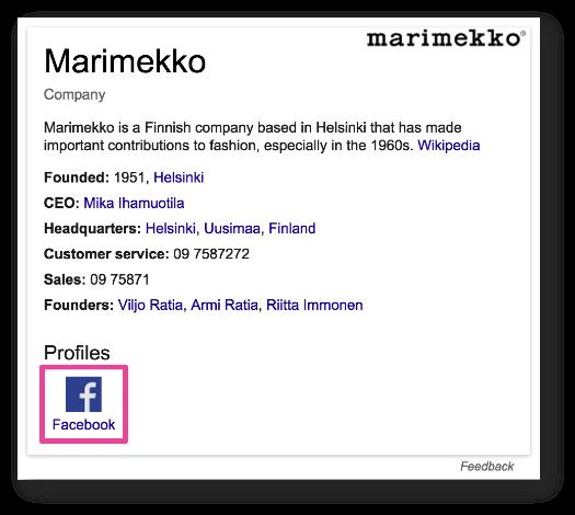 Если ваш сайт включен в Граф знаний, вы сможете добавить ссылки на ваши социальные профили прямо в SERP
