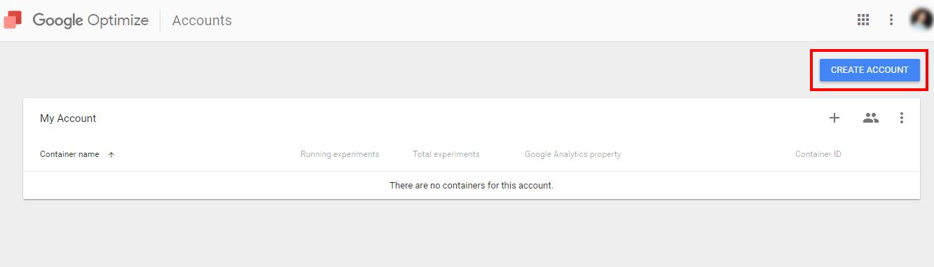 Создайте аккаунт в Google Optimize