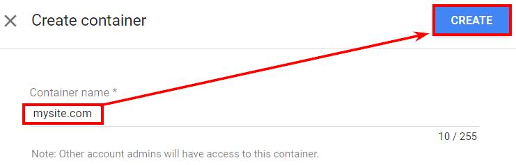 Создайте контейнер Optimize