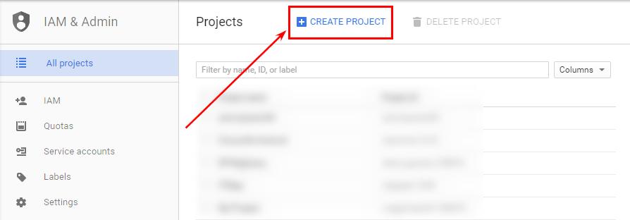 Создание проекта в Google Developers Console