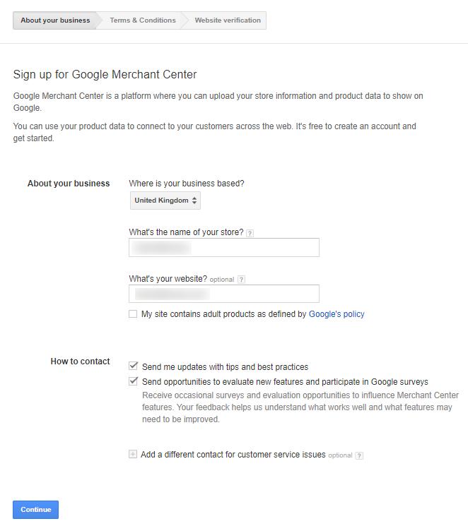 specify main information in Google Merchant