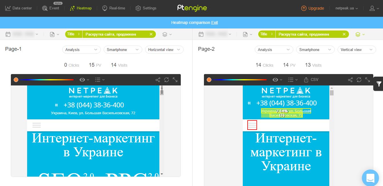 Сравнение карт кликов для горизонтальной и вертикальной ориентации мобильных устройств в Ptengine