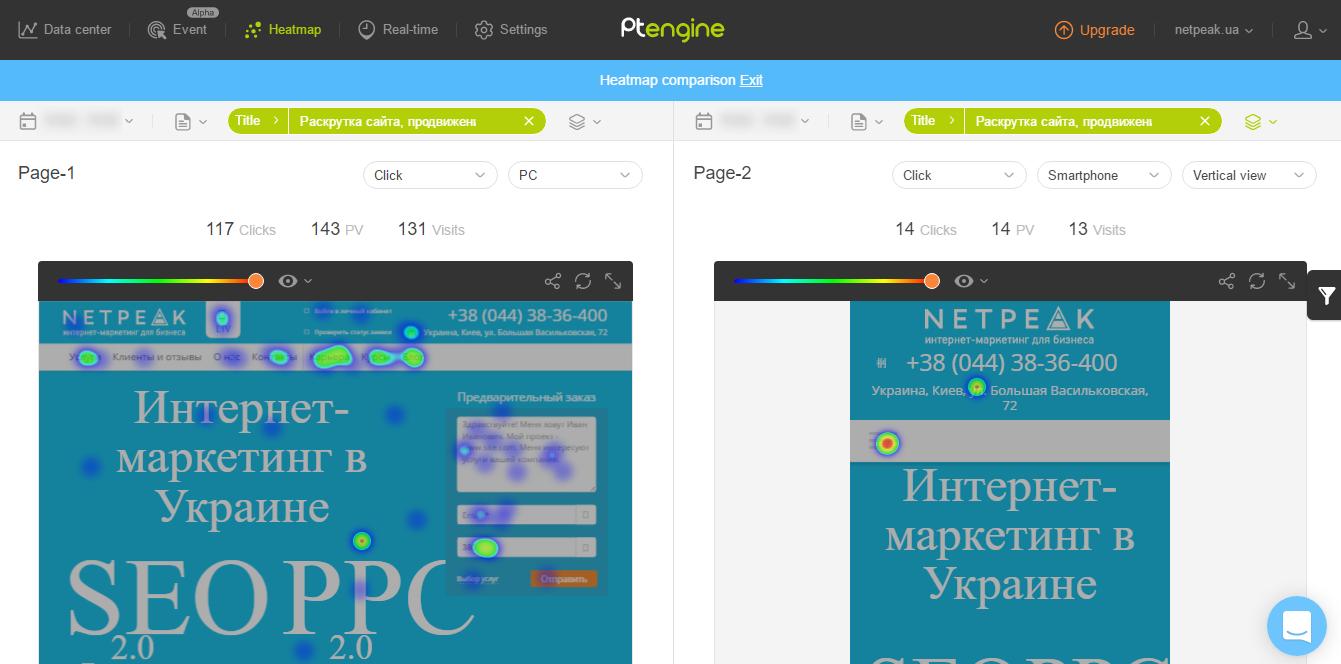 Сравнение карт кликов для мобильной и десктопной версий сайта в Ptengine
