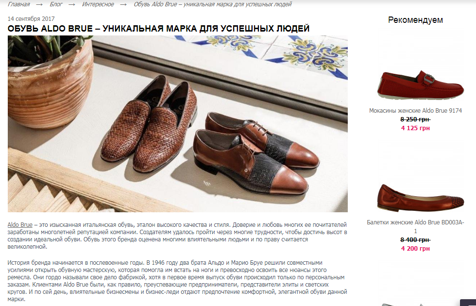 Статья о бренде и соответствующие теме текста предложения интернет-магазина