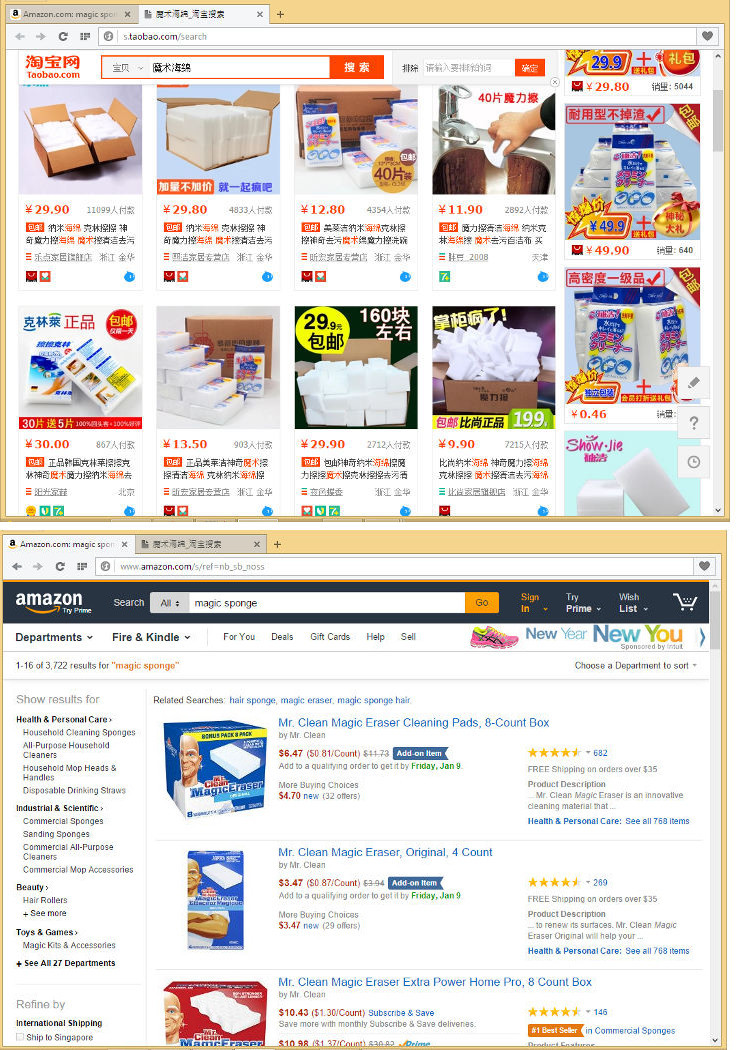 Каталоги Taobao и Amazon