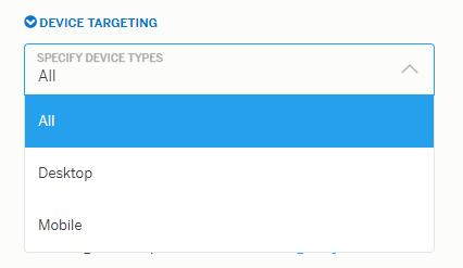 Теперь определяем, на каких устройствах хотим показывать нашу рекламу