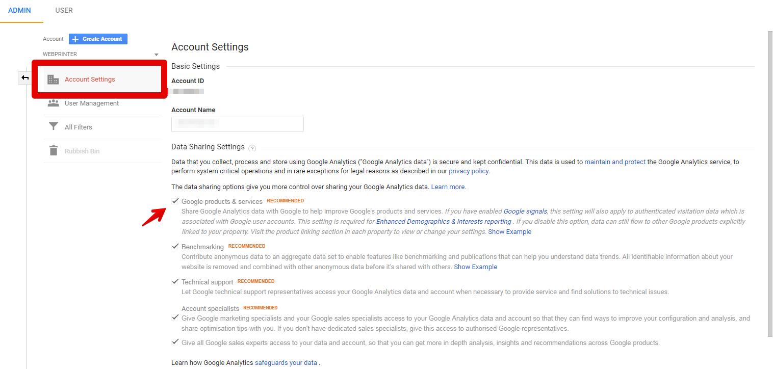 В профила си в Analytics трябва да сте активирали споделянето на данните с други продукти на Google. Визуализация