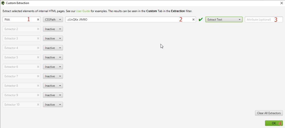 Указываем, как мы будем искать элемент на странице (CSSPath, xPath, Regex etc)