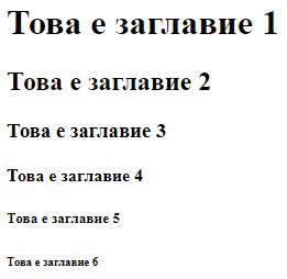 В HTML съществуват типове заглавия от H1 до H6