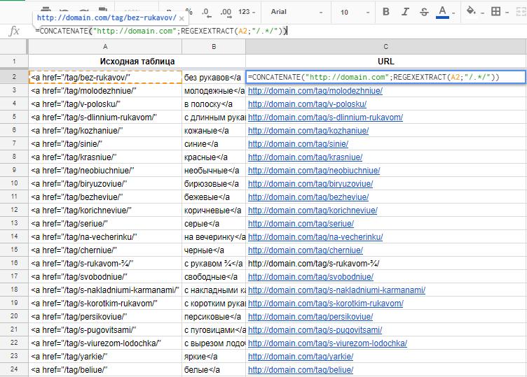 Усложним задачу, добавив CONCATENATE и получив таким образом готовый абсолютный URL