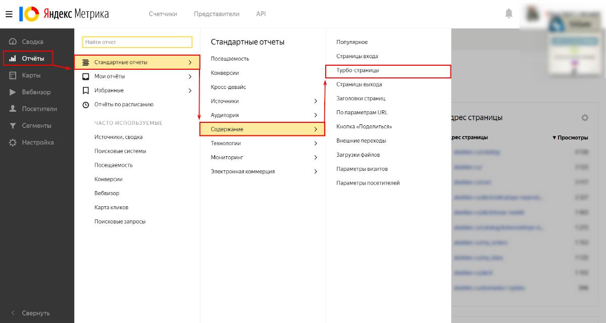В Яндекс.Метрике есть специальный подробный отчет для Турбо-страниц