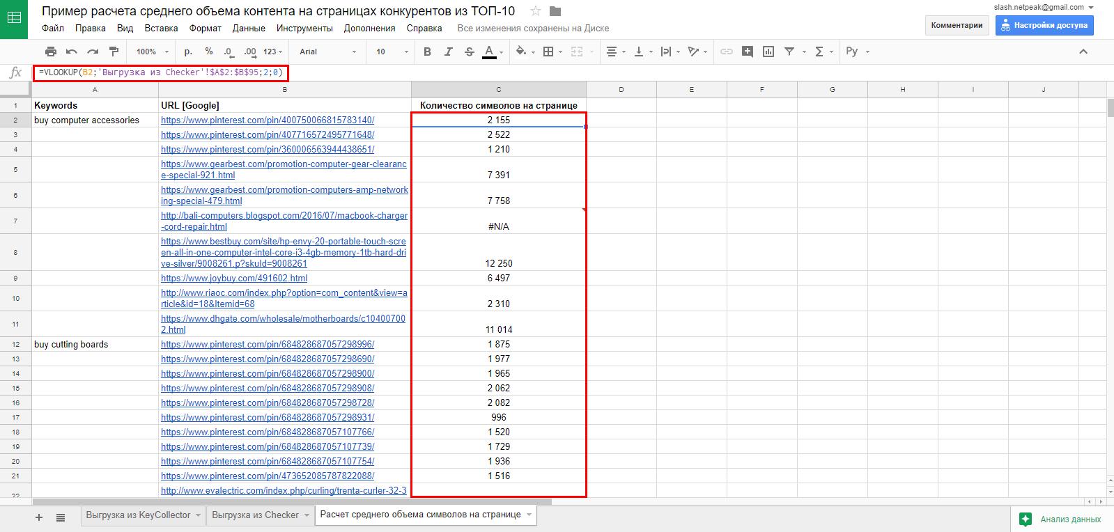 В доксе сопоставим основной список ключей и URL с количеством символов
