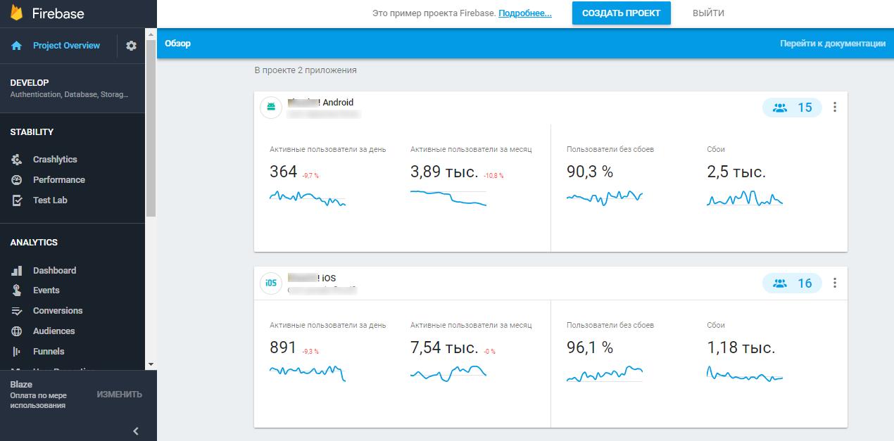 В интерфейсе Firebase появится два приложения iOS и Android