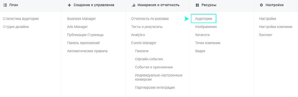 В меню Facebook Ads Manager и выберите Аудитории в разделе Ресурсов