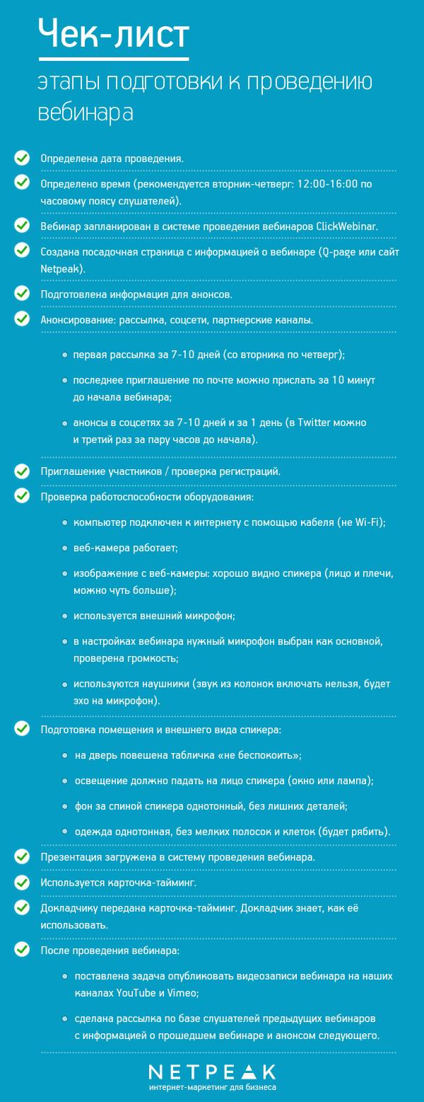 Чек-лист подготовки к вебинару
