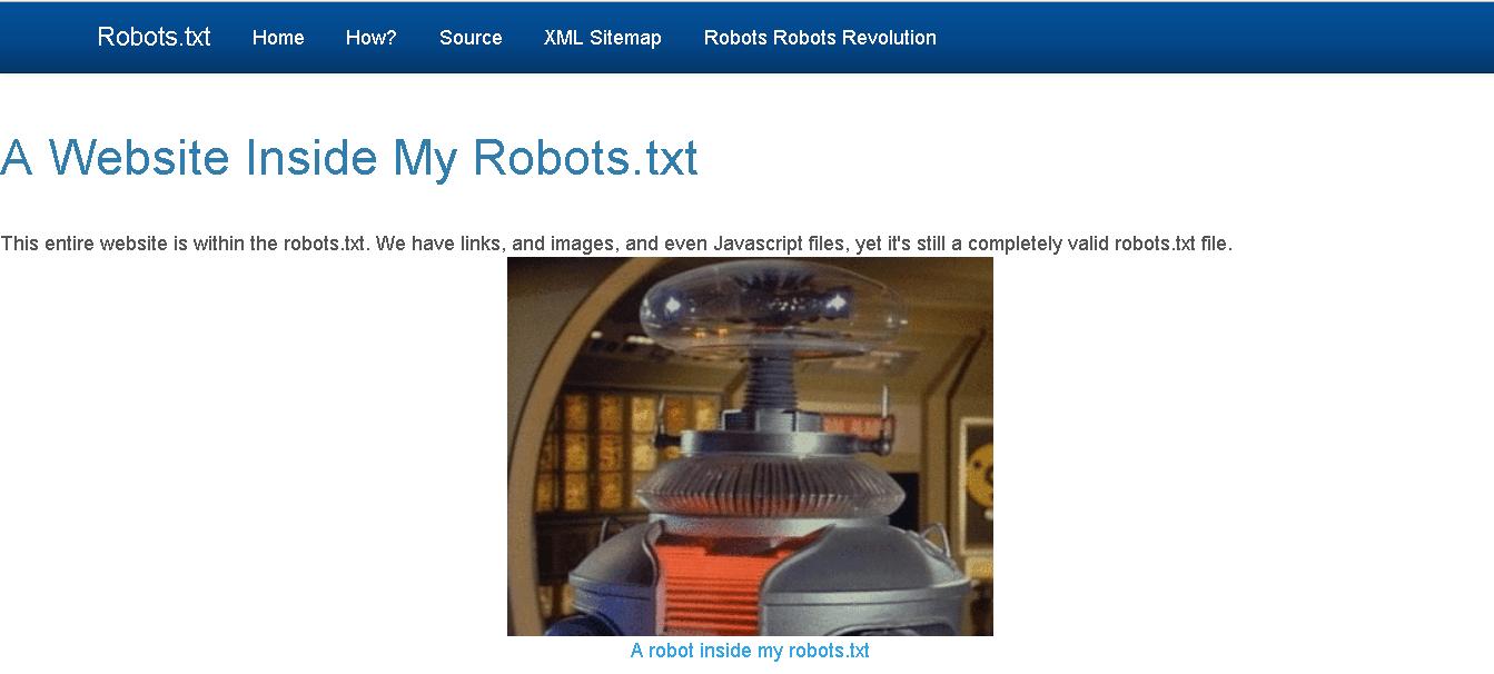 Вот сайт, в котором robots.txt сам является маленьким сайтом с рабочими элементами
