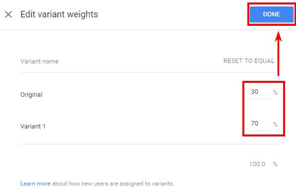 Введите необходимый вес для каждого варианта