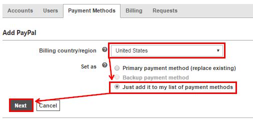 выберите «Add PayPal»