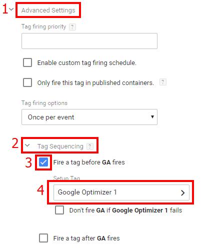 Выберите из списка тег Google Optimize