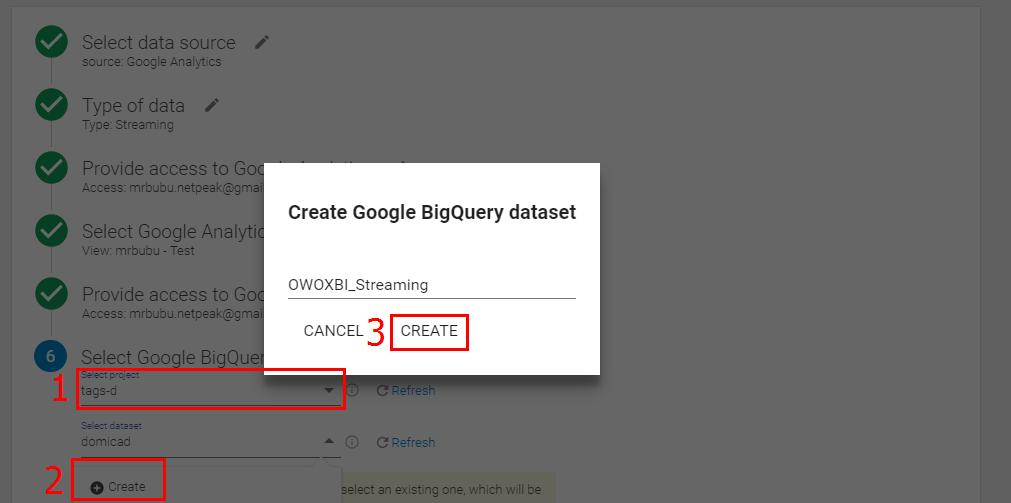 Выберите созданный во втором пункте проект в Google Cloud Platform и сформируйте набор данных