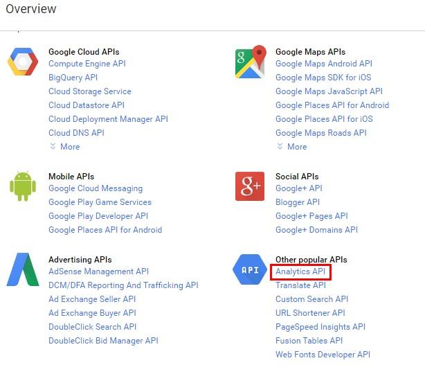 Выбираем «Analytics API»