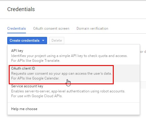 Выбираем пункт «OAuth client ID»
