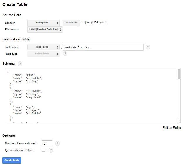 Задаем имя новой таблицы «load_data_from_json»