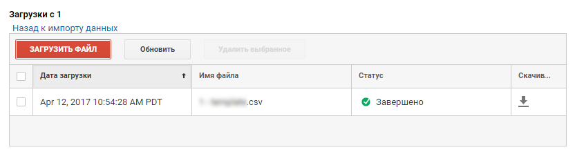Загруженный файл в Google Analytics