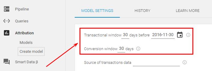 Зайдите в созданную модель и установите настройки транзакционного окна (период, на транзакциях которого будет рассчитана модель) и конверсионного окна. Это аналог ретроспективного окна в Google Analytics